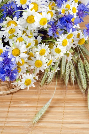 Beautiful flowers in a basket on bamboo rug Stock Photo - 10651839