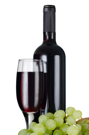 liquids: Red wine glass isolated on white background
