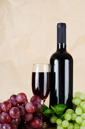 Red wine glass on vintage a background Stock Photo - 10655779