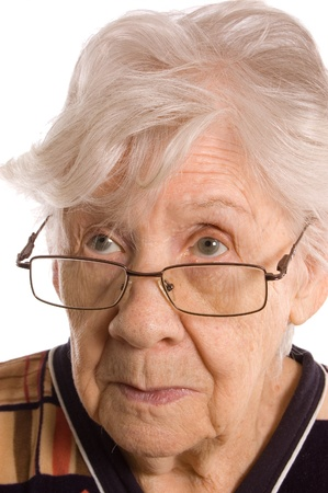 Portrait of the old woman on white Stock Photo - 10831880