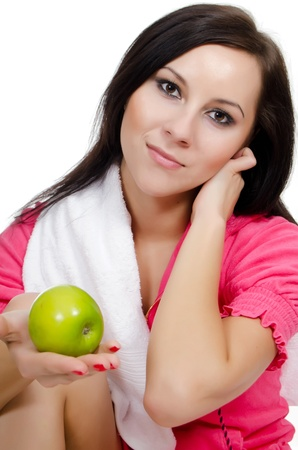 Portrait of the girl with an apple photo