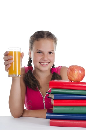 The young girl with a juice glass photo