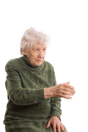 The elderly woman isolated on white background photo