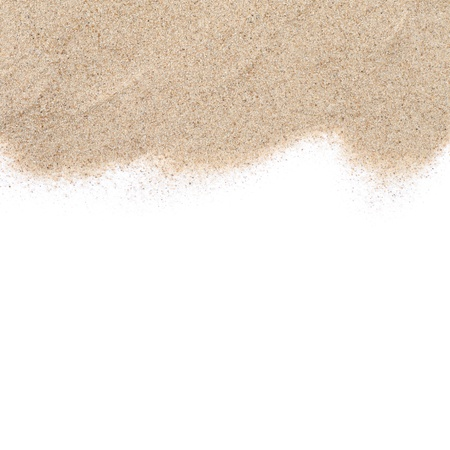 The sand scattering isolated on white background photo