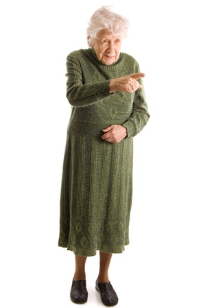 The old woman isolated on white background