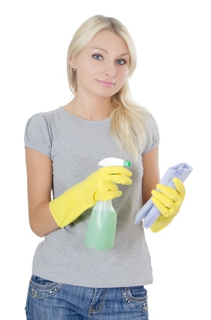The portrait of girl - concept Cleaning photo