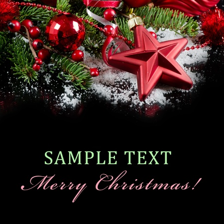 Christmas and New Year Border  on  black Stock Photo - 11123131