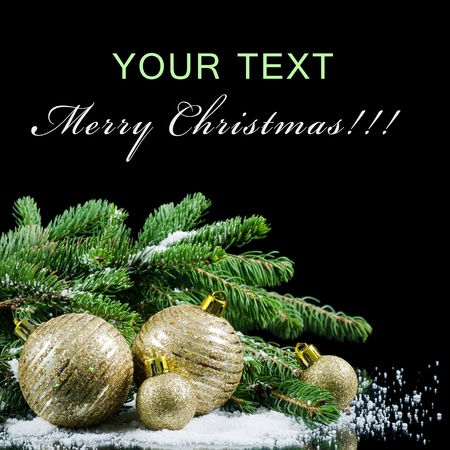 Christmas and New Year Border  on  black Stock Photo - 11123112