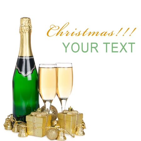 Champagne with Christmas ornaments Stock Photo - 11313844