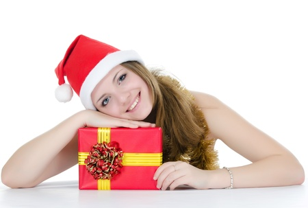 Christmas girl with gifts isolated on white Stock Photo - 11313954