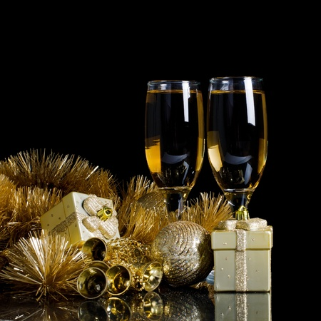 Champagne with Christmas ornaments photo