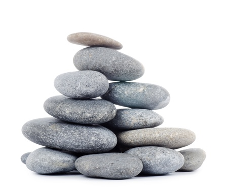 Group of stones isolated on white background photo