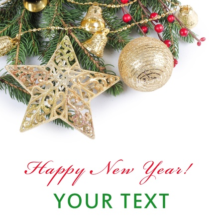 The christmas and New Year Border  isolated Stock Photo