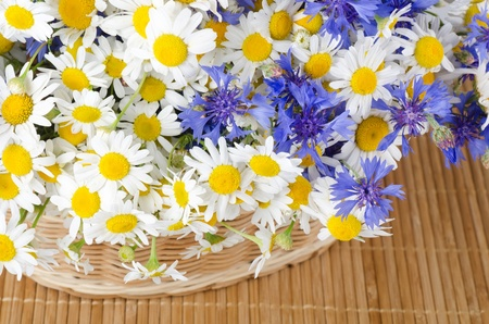Beautiful flowers in a basket on bamboo rug photo