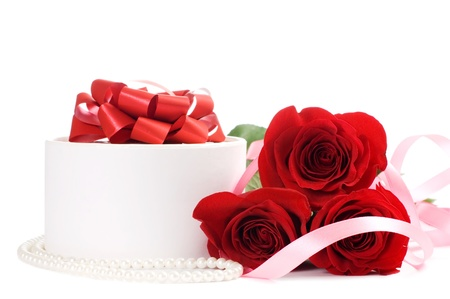 Rose with a box with a gift