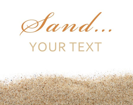 white sand beach: The sand scattering isolated on white background Stock Photo