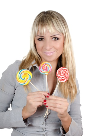 The girl with a sugar candy isolated Stock Photo - 11547986