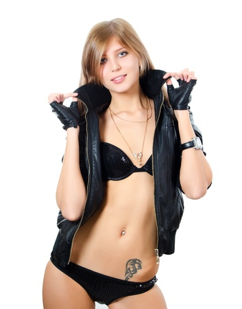 Girl in underwear and a leather jacket photo