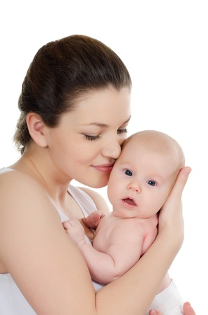 The happy mother with baby over white
