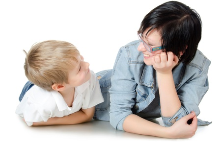 The boy with sister isolated on white photo