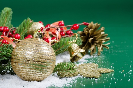 balls decorated: Christmas and New Year Border on snow Stock Photo
