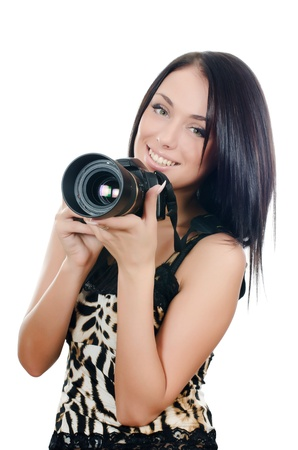 The beautiful girl with the camera isolated Stock Photo - 11708807