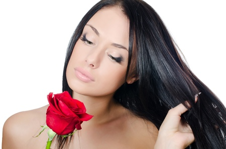 Girl with beautiful hair with red rose Stock Photo - 11708841