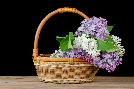 wattled: The lilac bouquet in a wattled basket Stock Photo