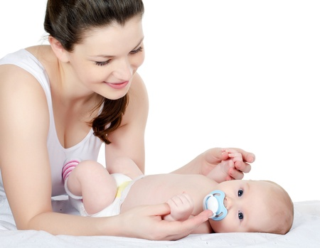 The happy mother with baby over white Stock Photo - 11933393