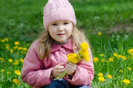 Portrait of the little girl with dandelions Stock Photo - 12134849
