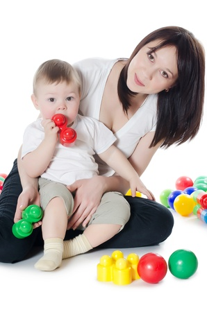 The little boy plays with mum isolated photo