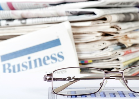 financial newspaper: Business newspaper with chart Stock Photo