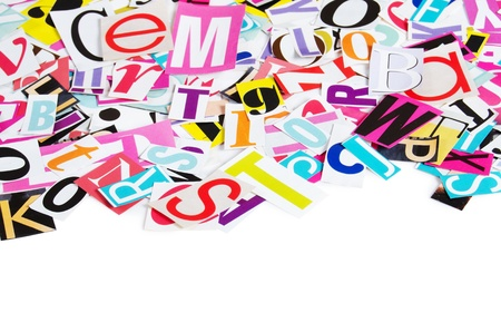 The letters which have been cut out from newspapers photo