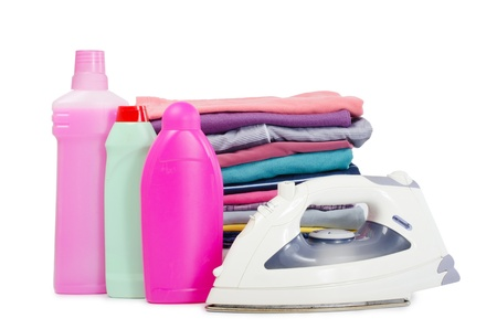 Heap of pure clothes with an iron Stock Photo - 12455545