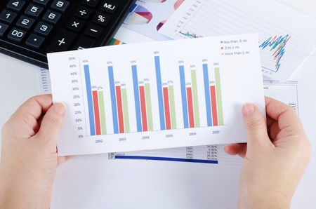 Graphs, charts, business table. The workplace of business people. Stock Photo - 12457950