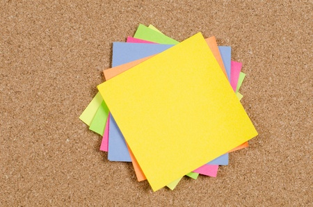 collection of various note papers on corkboard Stock Photo - 12458789