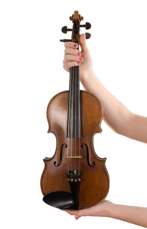 stringed: Violin in female hands isolated on white
