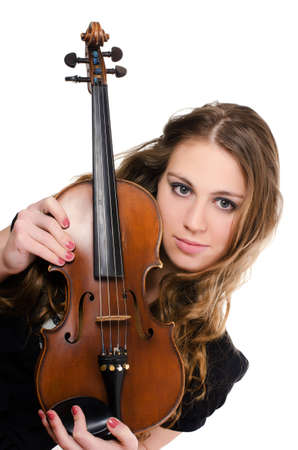 stringed: The beautiful girl with a violin isolated