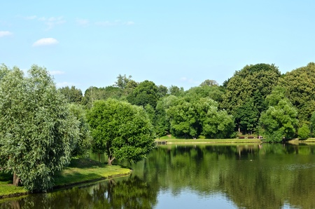 Summer lake near the park Stock Photo - 12459204