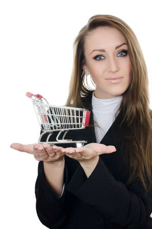 merchant: The business woman with the shopping cart