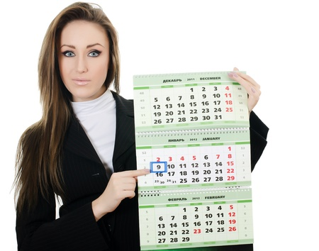 thursday: The business woman with a calendar isolated Stock Photo
