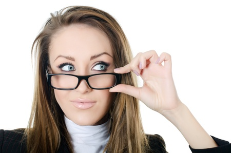 bussines: De zakelijke vrouw in glazen kijkt opzij Stockfoto