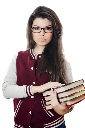Girl the student with books in hands