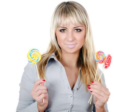 The girl with a sugar candy isolated Stock Photo - 12854991