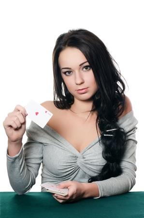 kartenspiel: Das sch�ne M�dchen mit einer Spielkarte Lizenzfreie Bilder