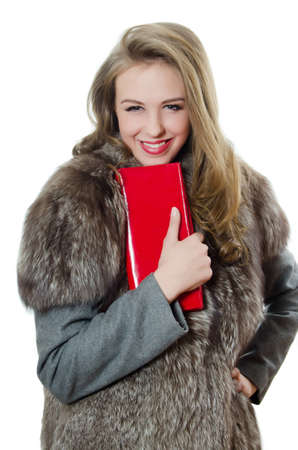 red purse: The beautiful girl with a red handbag
