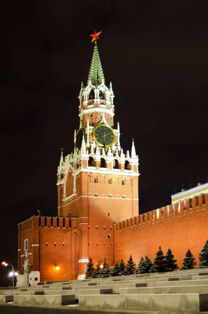 spassky: Night view of Moscow Red Square,  Spasskaya Tower of Kremlin