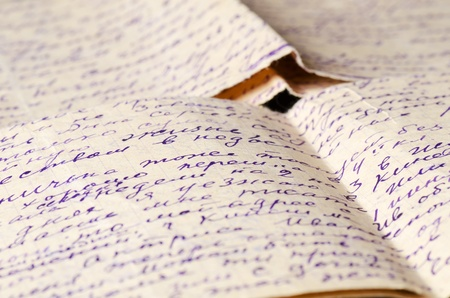 prose: Old letters as a background close up