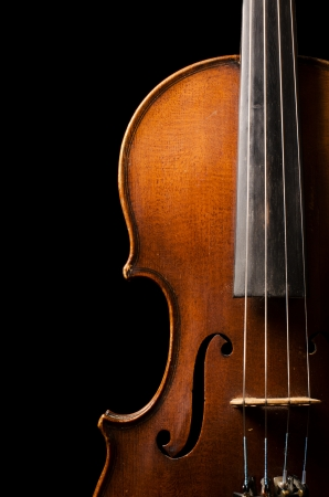 The violin close up on black Background photo