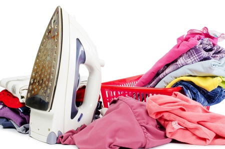 Heap of pure clothes with an iron Stock Photo - 12889666
